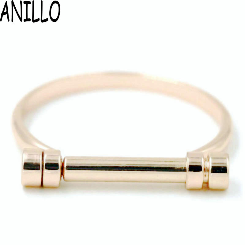 ANILLO Mujeres Tornillos Brazaletes Punk Rose Gold Color Cuff Charm Bracelets & Bangles Acero inoxidable Geometric Love Jewelry