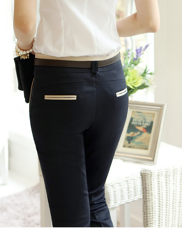 2015 New Elegant Career Straight Khaki Black Formal Pants Women ...