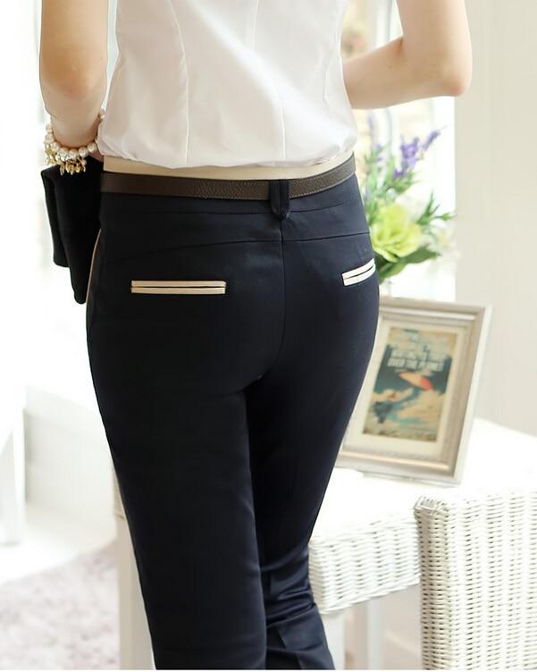 2015 New Elegant Career Straight Khaki Black Formal Pants Women ...