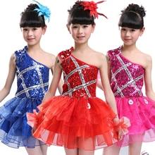 20pcs/lot Free Shipping Children Girls Dance Wear Kids Summer Sequin Ballet Latin Dancing Dress Stage Ballroom Costumes Clothes