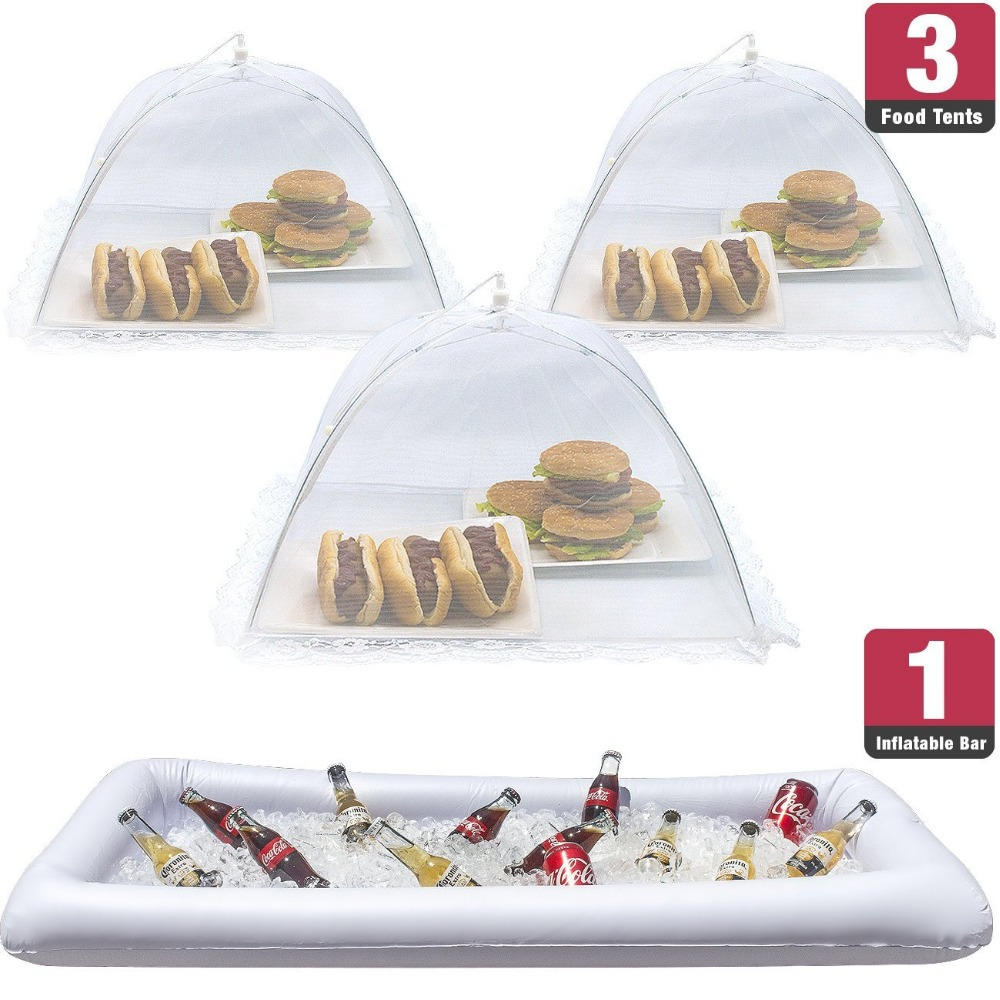 4pcs/set Inflatable Serving Bar & food umbrella mesh cover Screen Tent set for Food and Beverages, Perfect for BBQ