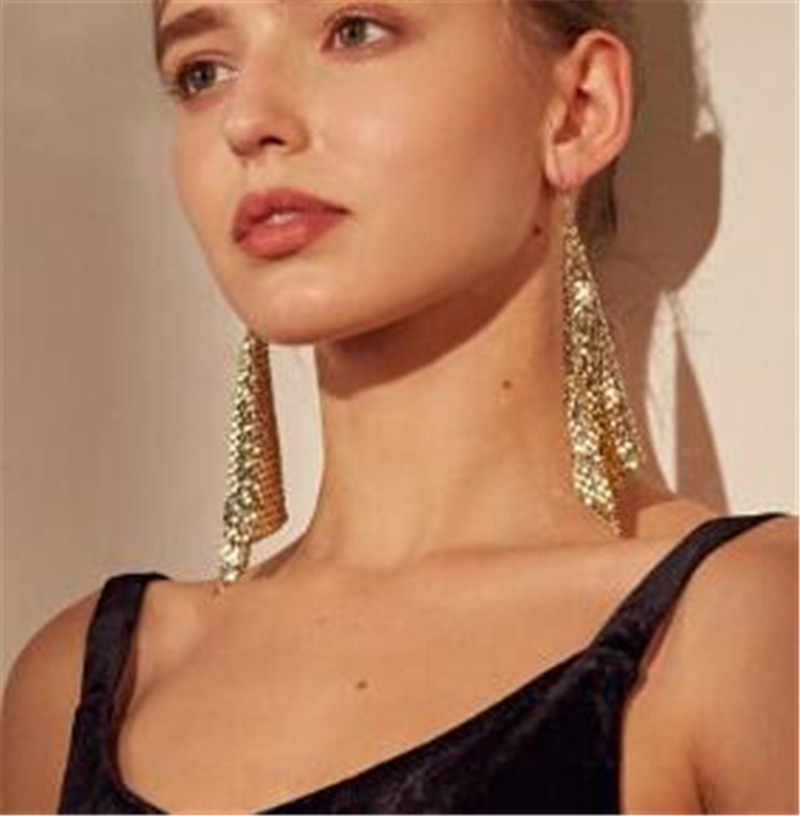 2019 New Statement Jewelry Brand Sequin Tassel Long Drop Earring For Women Dangle Cheap Earrings Bijoux Star Long Ladies brincos