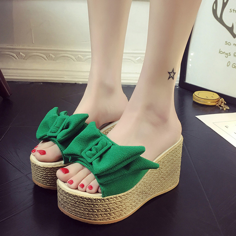 Hung Yau Bow Tie Bottom Platform Sandals Wedge Slippers Creepers Summer Shoes For Women Gladiator Black Sandals Plus Size 9 phyanic 2017 gladiator sandals gold silver shoes woman summer platform wedges glitters creepers casual women shoes phy3323