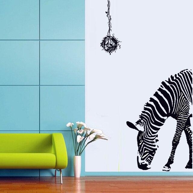 Delicate huge black zebra bird nest wall sticker kids diy print mural art decal animal home