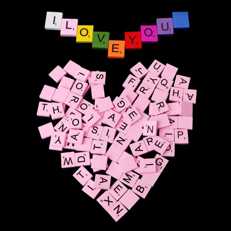 100Pcs Wooden Colourful Scrabble Tiles Mix Letters Varnished Alphabet Scrabbles
