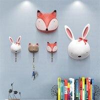 Decorative Cute Hook Children Room Wall Animal Hook Creative Resin Animal Model Bathroom Wall Hook Coat Hook