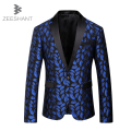 Singers Party Blazer Mens Royal Blue Blazer Pattern Slim Fitted Prom Blazers Men One Button Suit Jacket Stage Costumes Jacket
