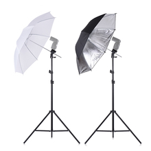 Speedlight Flash Shoe Mount Swivel Soft Umbrella Kit +Brackets+Light Stand +Soft Umbrella