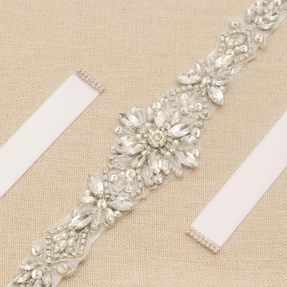 Image 5 - MissRDress Silver Diamond Wedding Belt Handmade Rhinestones Bridal Sash Crystal Pearls Bridal Belt For Wedding Gown JK935-in Bridal Blets from Weddings & Events