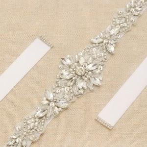 Image 5 - MissRDress Silver Diamond Wedding Belt Handmade Rhinestones Bridal Sash Crystal Pearls Bridal Belt For Wedding Gown JK935