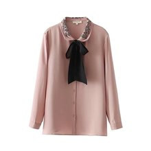 Womne Embroidered Beading Bow Knot Neck Long Sleeve Tops Shirt 2018 New Arrivals(China)