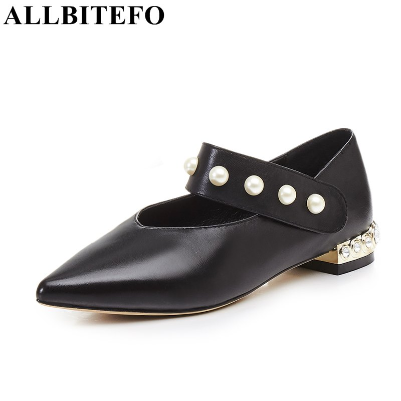 ALLBITEFO pointed toe sheepskin Rhinestone heel design women pumps fashion thick heel party shoes spring pumps ladies shoes