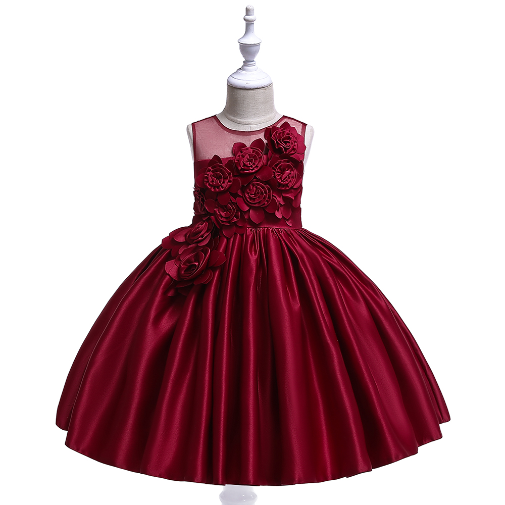 Girl's 4-8 Years O-Neck Sleeveless Flowers Design Mesh Princess Party Dresses Children Day Stage Performance Summer Dresses