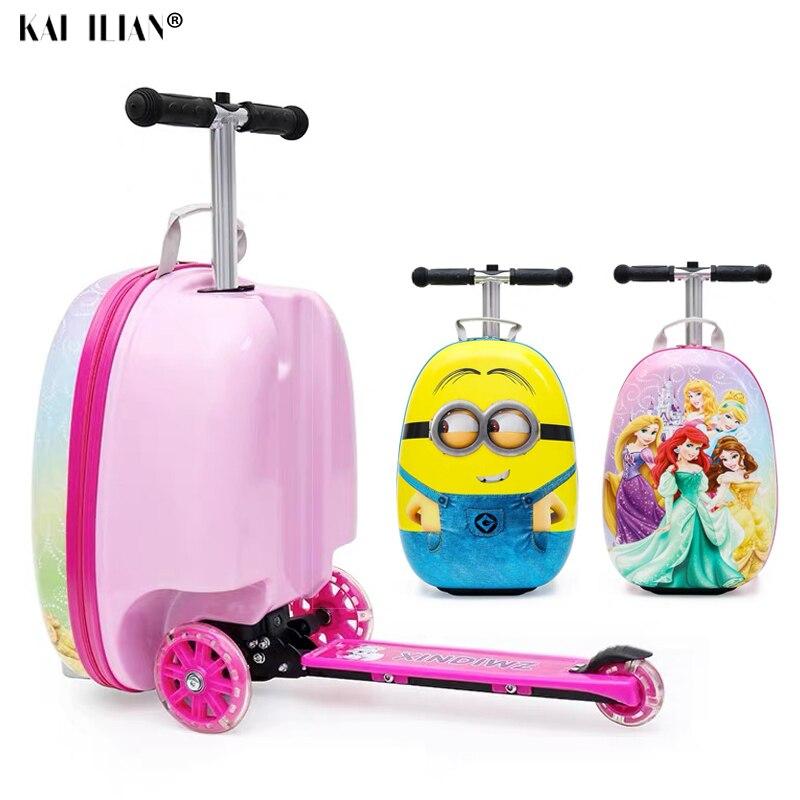 NEW kids Bonito Preguiçoso pequena scooter de mala saco do trole crianças carregam na cabine de viagem rolando bagagem sobre rodas para crianças presente caixa