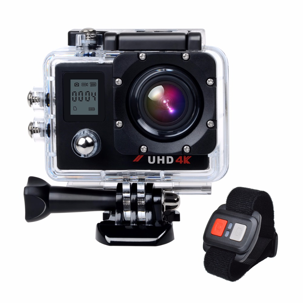4k Wifi Ultra HD Dual Screen Waterproof Underwater Sports Action Camera with Remote Control Time Lapse