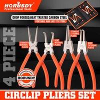 HORUSDY 4Pcs Circlip Plier Snap Ring Plier Set 7'' Portable Internal External Ring Remover Retaining Curved Tip Plier Mechanical