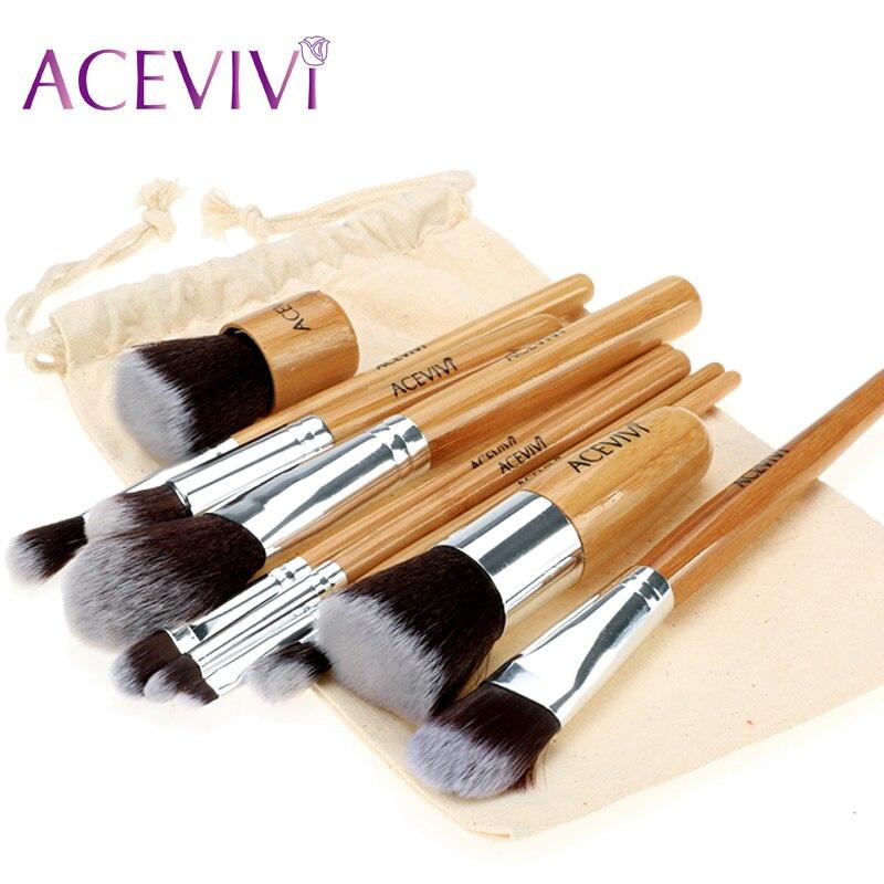 ACEVIVI Makeup Brushes Set 10PCS/LOT Beauty Cosmetics Foundation Blending Contour Powder Blush Brush Tool Kit Set High Quality new high quality makeup brushes 10pcs lot beauty cosmetics foundation blending blush make up brush tool kit set