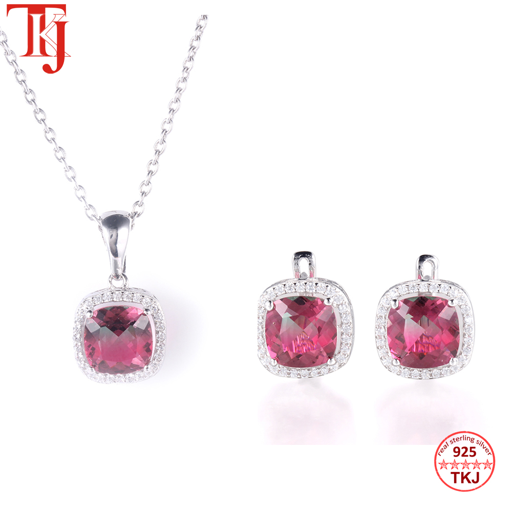 TKJ 925 Sterling Silver Jewelry set CZ Zirconia Tourmaline Pendant Necklace Earrings Silver Sets For Women