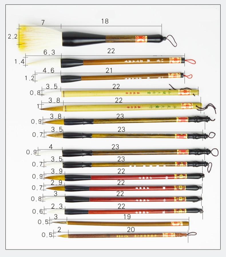 Roteiro Regular Escrita Pen Brushes 15 pcs