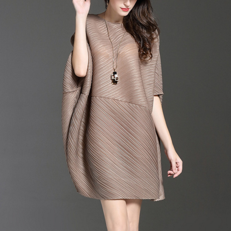LANMREM 2020 Summer New Fashion Casual Women Loose Pleated Solid Color Stitching Bat Sleeve Large Size Ladies Dress TC043