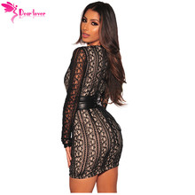 Dear Lover Long Sleeve Dress Women Work Autumn Office Black Lace Nude Illusion Corset Belted Mini Dress Vestido de Festa C220489
