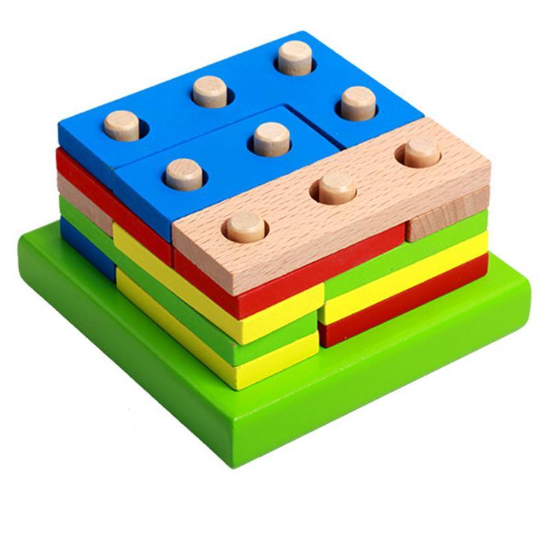 Holzspielzeug Bunte Geometrische Formen Zusammengesetzt Bausteine Geistigen Pädagogisches Spielzeug Für Kinder Brinquedos