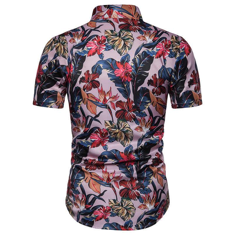 Розовый Гавайский пляжная рубашка для мужчин лето 2019 г. мода цветочный принт тропический Мужская рубашка навыпуск с ярким рисунком вечерние партии Праздник повседневное