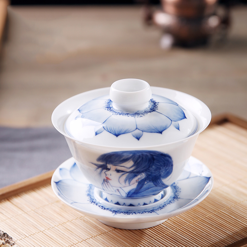 165ML Jingdezhen Blue and white porcelain Gaiwan Hand Painted Beauty Pattern Tea Bowl with Lid Saucer Kit Office Master Teapot