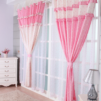 Fabric curtain balcony small fresh curtain cloth rustic pink heart curtain