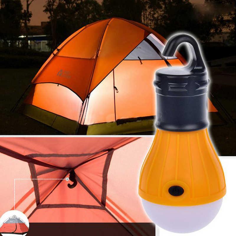 Mini przenośna latarnia oświetlenie namiotu LED żarówka lampa awaryjna wodoodporna wisząca latarka z haczykiem na kemping 4 kolory użyj 3 * AAA