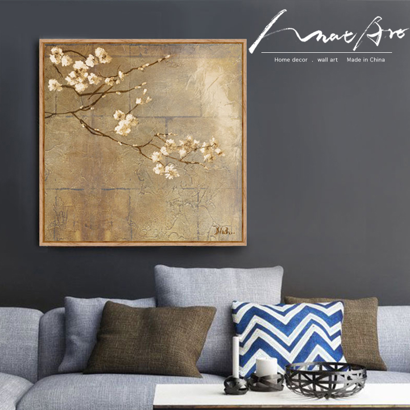 Oil Painting Canvas Print Digital Wall Art Golden Almond Blossoms Style Unframed