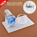1 Unidades Unique New Design Pure Clear Nail Art Stamper Scraper Set con Tapa 2.8 cm Malvavisco De Silicona Transparente de Uñas Herramientas de estampillas