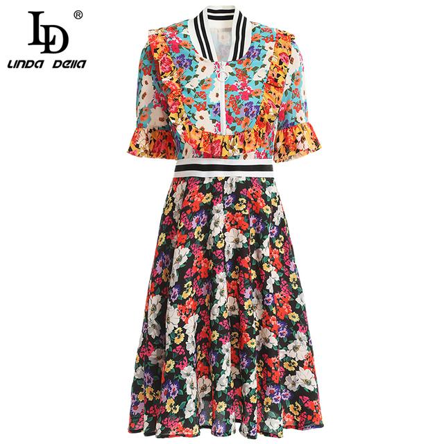 New Fashion Spring Summer Dress Women's Short Sleeve Ruffles Floral Printed Elegant Vintage Vacation Mini Dresses
