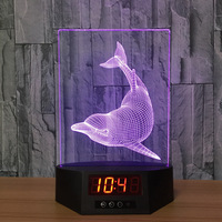 The Dolphins Acrylic 3D Night Light Ban LED Calendar Desk Lamp Colors Change Remote control Clock Creative Lamp bedroom lamp