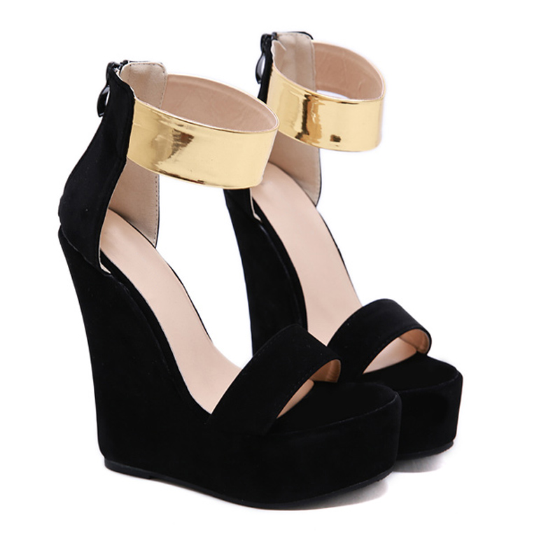 GBHHYNLH 2019 Summer Ultra High Wedges Heel Sandals Fashion Open Toe Platform Elevator Women Sandals Shoes Plus Size Pump LJA736 in High Heels from Shoes
