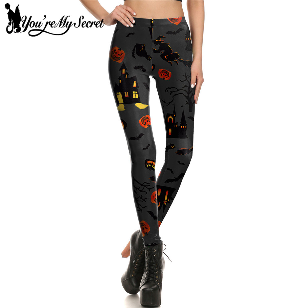 [You're My Secret] Halloween Black Pumpkin Lantern Leggings Women Printed Haunted House Leggins Women Bottoms Fitness Mujer Pant