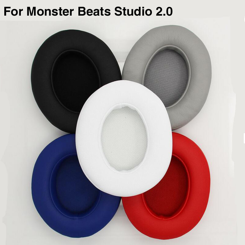 2pcs/pair Leather Headphone Foam For Monster Beats Studio 2.0 3.0 headset ear pads buds Sponge cushion Earbud Replacement Covers ear pads soft leather replacement cushion for monster for beats by dr dre studio 2 0 wireless headphones 1 pair earpads
