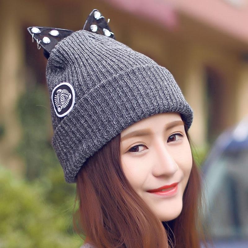 Cute Women Beret Lace Rhinestone Cat Ear Crochet Knit Cap Beanie  Hat Winter Warm women artist beret cap french style autumn