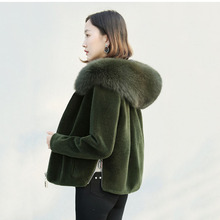 Winter New 2017 Women clothing Outerwear Sheep shepherd Fur Coat Female Upscale Solid color Hooded Warm Women Fur One coat ll669