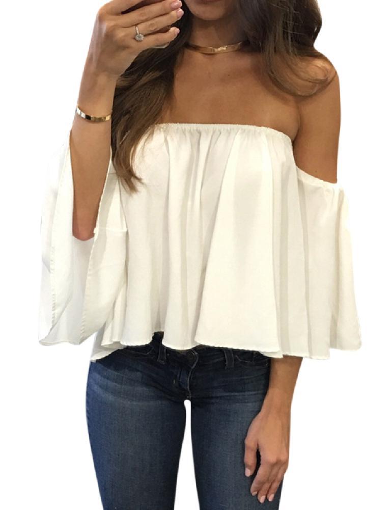 49dee0efca9 MISSKY Лето Женский черный белый цвет мода Свободный с открытыми плечами  Дизайн топы сексуальная дышащая шифоновая блузка