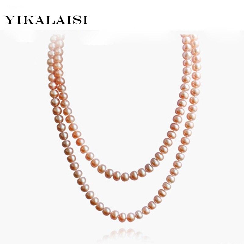 YIKALAISI new 100 Natural Freshwater Pearl Long Necklace Pink Color 7 8 9 10 mm 90