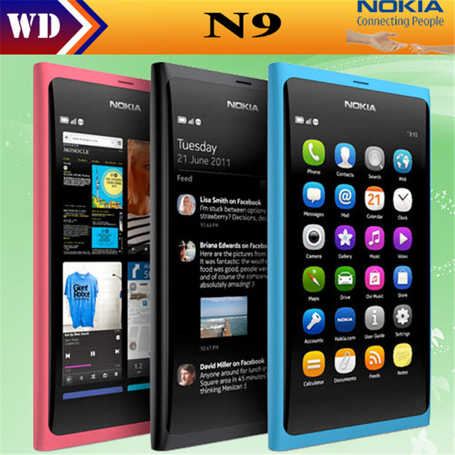 Original Nokia N9 8MP MeeGo OS 1 GB RAM 16 GB ROM Wi-Fi FM đài phát thanh Màn Hình Cảm Ứng điện thoại di động nâng cấp