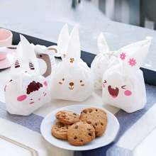 10pcs Bunny Cookies Gift Bags Birthday Wedding Party Decoration Kawaii Long Ears Rabbit Dessert Cake Candy Plastic Bag Easter
