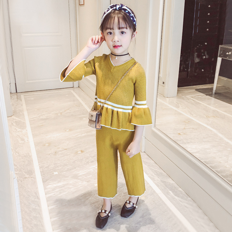 3 4 5 6 7 8 9 Years Spring Clothing Set For Baby Girls 2018 Long Sleeve Sweater Top + Pant 2pcs Kids Clothes Meisjes Kleding 2 3 4 5 6 7 8 years girls dress 2018 new thick velvet winter spring kids clothes ruffles long sleeve children princess clothing