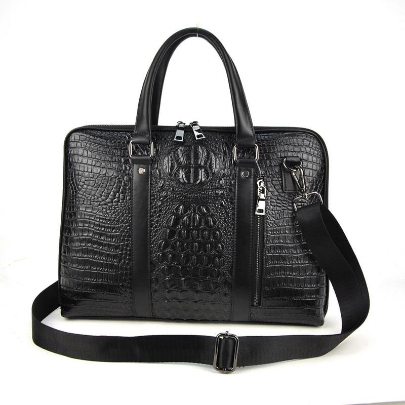 Men Genuine Leather Laptop Bag Crocodile Alligator Briefcase Shoulder Cross Body Messenger Zip Satchel Business Work Classic
