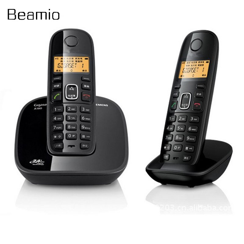 2pcs Handsets Call ID DECT Digital Wireless Phone Desktop Telefone Base Phone Digital Cordless Telephone For Home Office Black 2 receivers 60 buzzers wireless restaurant buzzer caller table call calling button waiter pager system