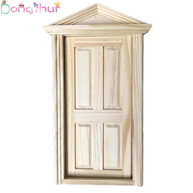 Dollhouse Miniatures Accessories 1:12 Mini Toy Spire Door Diy Primary Wooden Door Dolls House Furniture Miniature Kit