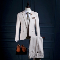 NA23 формальный мужской Vestido BODA TERNO Para Casamento Slim Fit полушерстяные настроены смокинг костюм комплект из 3 предметов Свадебный костюм для человека