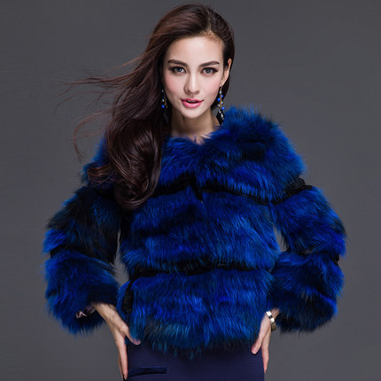 3b3314467f37 Royal Blue Real Raccoon Fur Coat Korean New Fashion Brand Winter Jacket  Women Natural rabbit fur coat-in Faux Fur from Women s Clothing on  Aliexpress.com ...