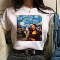 Mona Lisa Aesthetic Harajuku T Shirt Women Ullzang Vintage Graphic T-shirt Funny Cartoon 90s Tshirt Korean Style Top Tees Female
